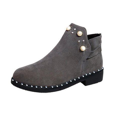 Zipper Low Heel Pearls Casual Suede Boots