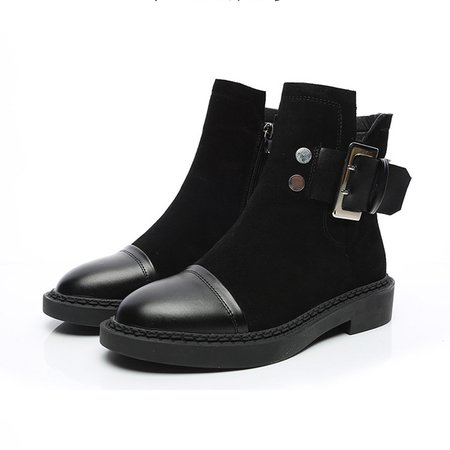 PU Paneled Suede Buckle Low Heel Zipper Martin Boots