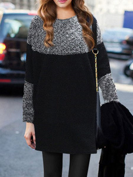 Simple Solid Cotton-blend Long Sleeve Tunic Top