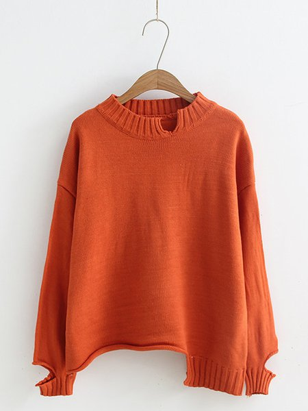 Red Solid Simple Crew Neck Cotton-blend Sweater