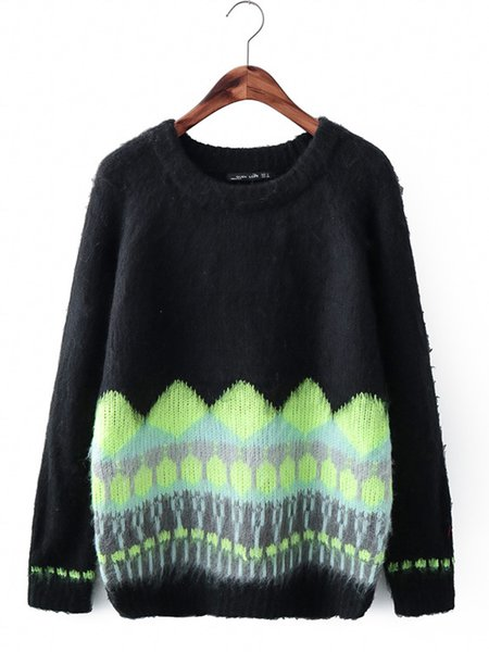 Simple Knitted Geometric Long Sleeve Crew Neck Sweater