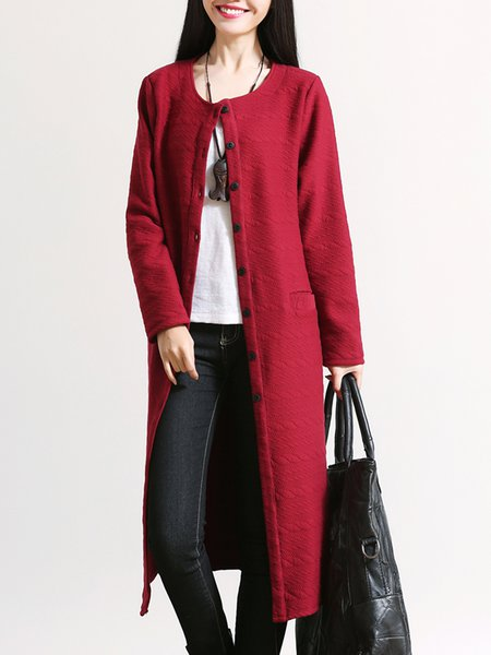 Long Sleeve H-line Casual Buttoned Coat