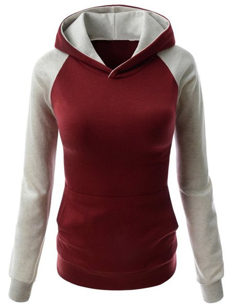Simple Long Sleeve Paneled Cotton-blend Hoodie