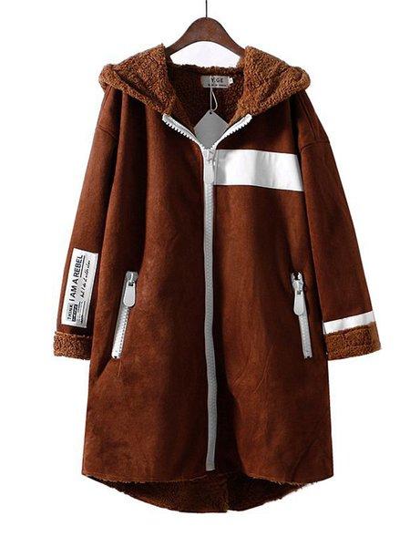 Buttoned Hoodie Long Sleeve Simple Coat