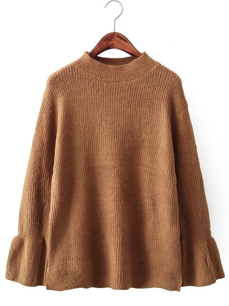 Simple Solid Cotton-blend Bell Sleeve Sweater