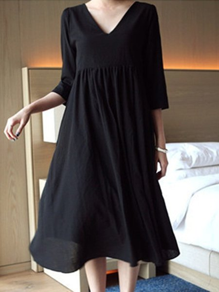 Women Casual Dress V neck Daytime Long Sleeve Solid Dress