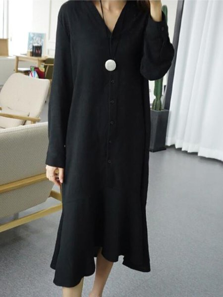 Long Sleeve Buttoned Casual V Neck Dress