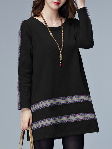 Black Printed Polyester Tribal Simple Dress