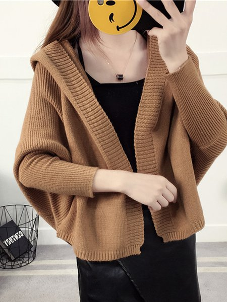 Hoodie Cotton-blend Solid Simple Long Sleeve Cardigan