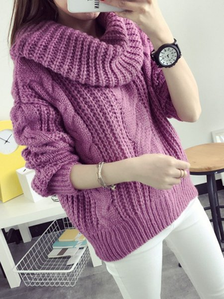 Simple Cotton-blend Knitted Long Sleeve Sweater