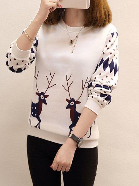 Long Sleeve Animal Printed Christmas Sweatshirts