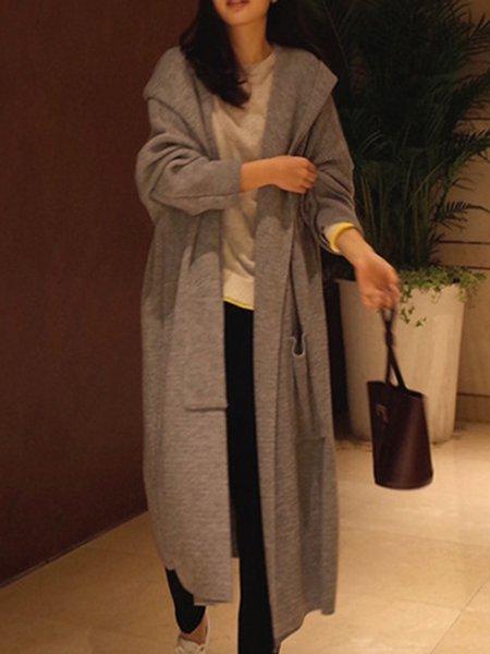 Casual Hoodie Long Sleeve Solid Cardigan