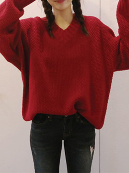 Knitted Long Sleeve Solid Cotton-blend Sweater