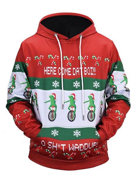 Multicolor Printed Long Sleeve Floral Christmas Hoodie
