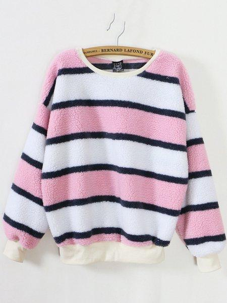 Simple Stripes Fluffy Cotton-blend Sweatshirt