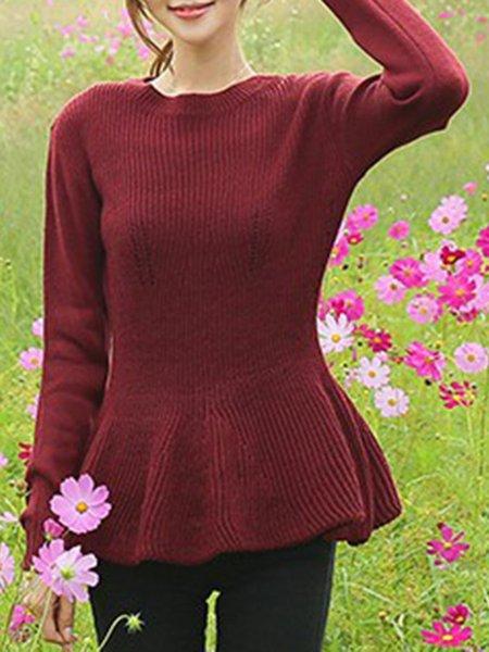 Long Sleeve Crew Neck Cotton-blend Sweater