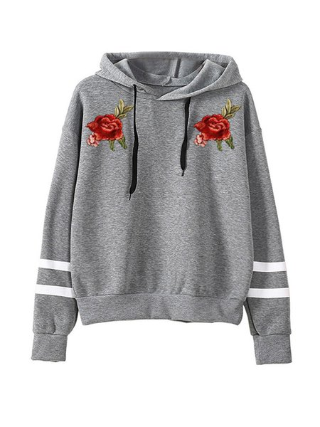 Embroidered Cotton-blend Floral Long Sleeve Hoodie