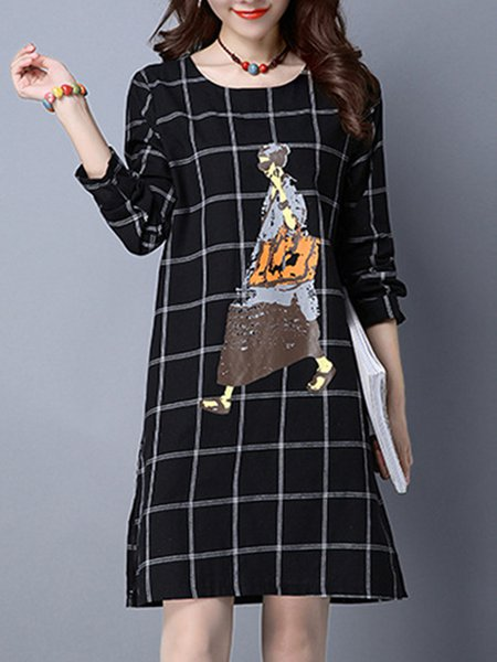 Casual Checkered/Plaid Long Sleeve Dress