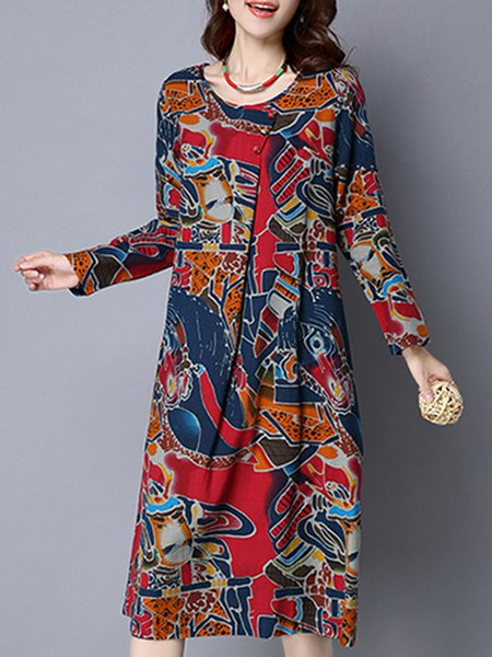 Women Print Dress Daily Linen Leaf Dress