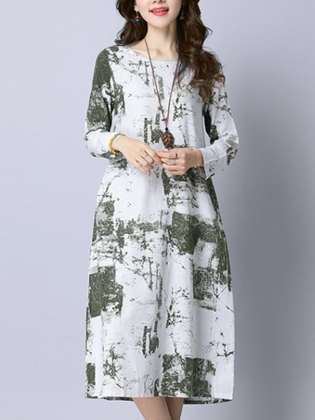 Long Sleeve Casual Abstract Dress