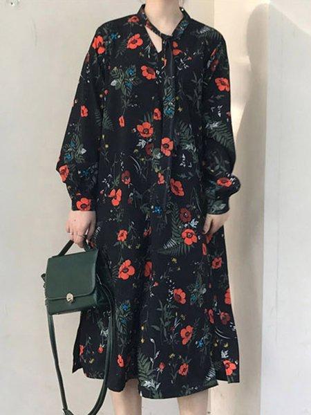 Long Sleeve Floral Slit Casual Dress
