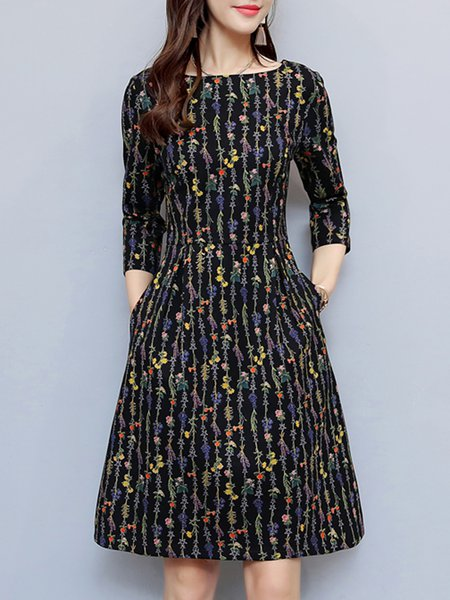 Black Women Print Dress Crew Neck Daytime 3/4 Sleeve Floral Dress