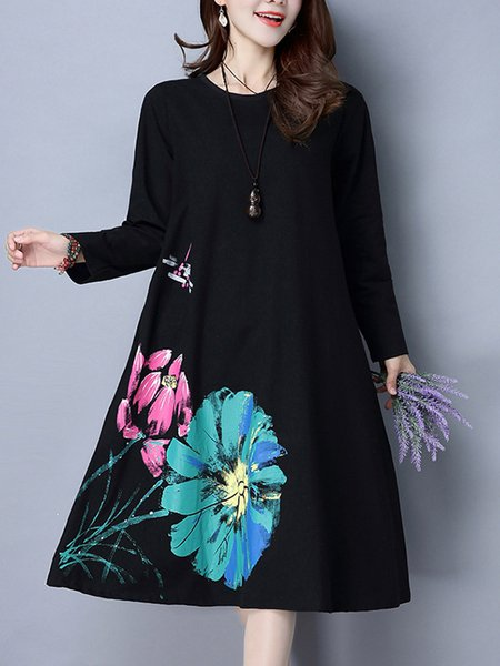 Floral-print Casual A-line Long Sleeve Linen Dress
