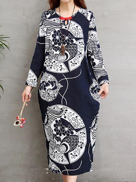 Navy Blue Keyhole Slit Cotton Casual Dress