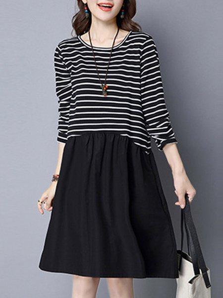 Black Paneled A-line Stripes Long Sleeve Dress