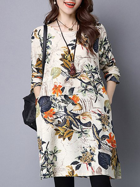 Floral Casual Crew Neck Long Sleeve Dress