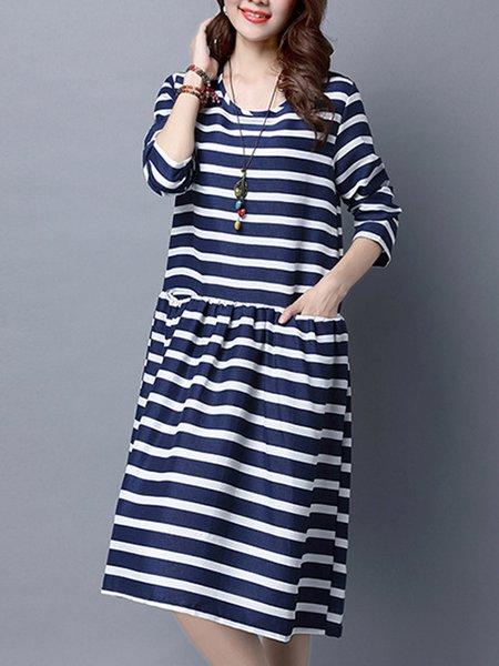 Deep Blue Casual Stripes Crew Neck Dress