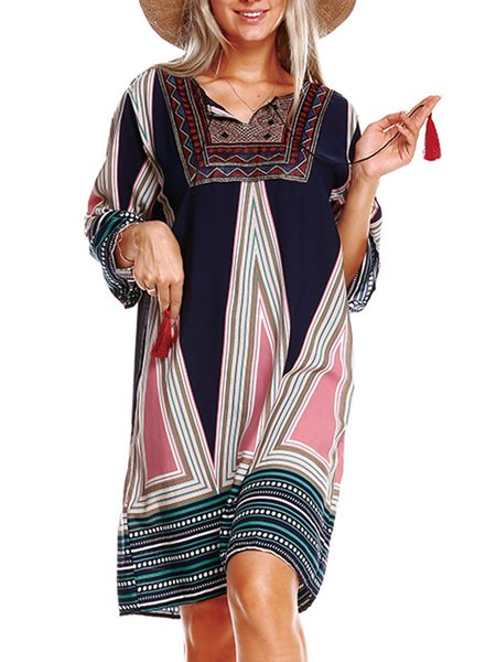 Multicolor A-line V-Neck Casual Printed Dress