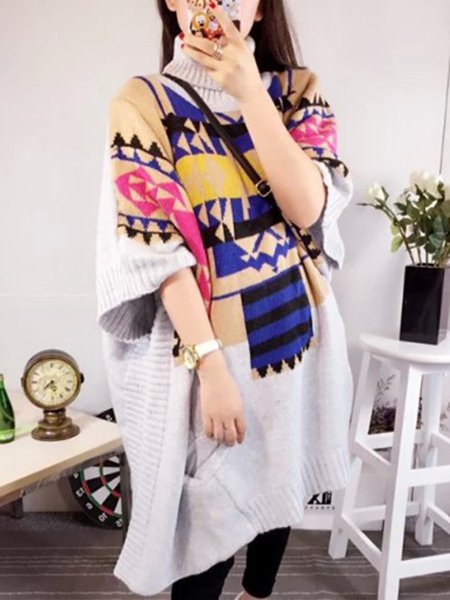 Simple Knitted Geometric Batwing Knitted Sweater
