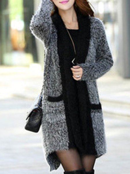 Simple Long Sleeve Solid Mohair Cardigan