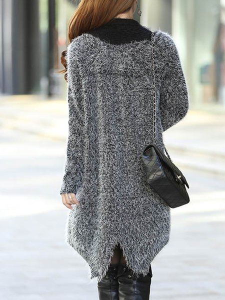 Simple Long Sleeve Solid Mohair Cardigan - JustFashionNow.com