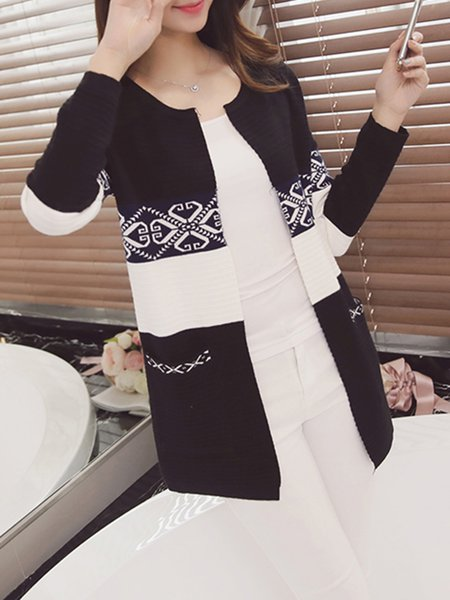 Long Sleeve Geometric Simple Cardigan