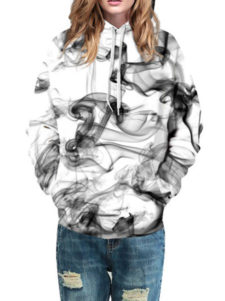 White Abstract Cotton-blend Printed Long Sleeve Hoodie