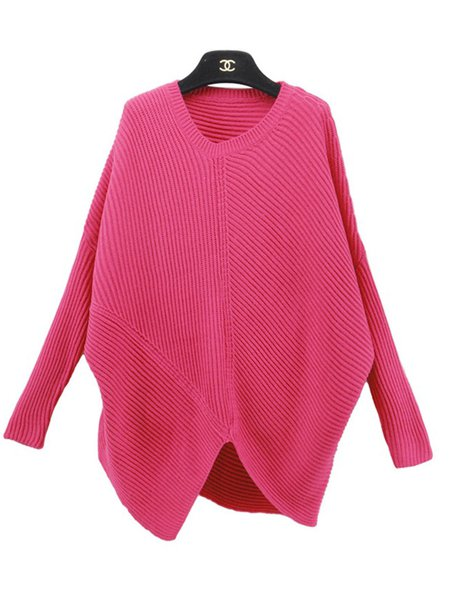 Solid Knitted Simple Batwing Sweater