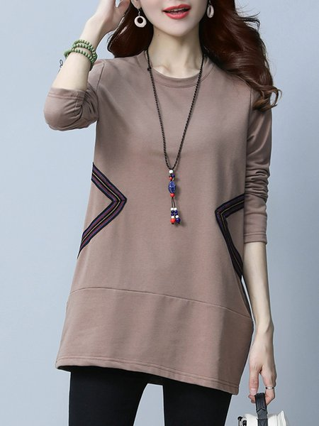 Coffee Solid Cotton-blend Simple Tunic Top