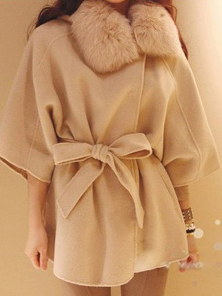 Beige Solid Simple Faux Fur Shearling
