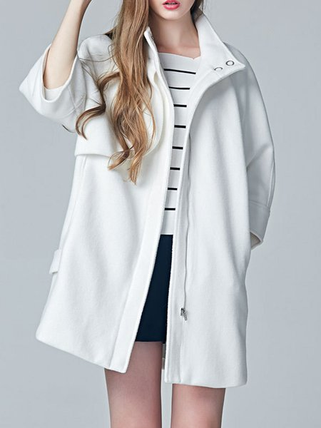 Long Sleeve Solid Cotton-blend Trench Coat