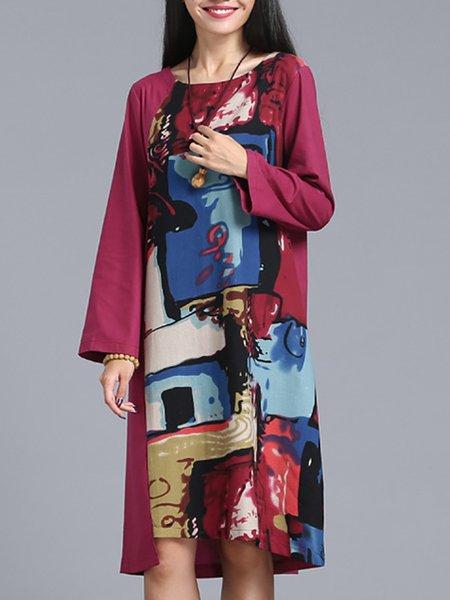 Long Sleeve Simple A-line Cotton Dress
