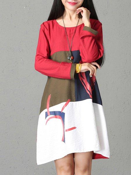 Casual Long Sleeve Color-block Dress