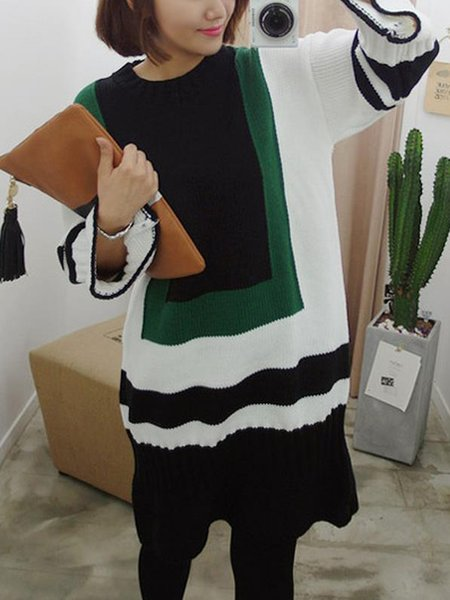 Green Long Sleeve Polyester Geometric Dress