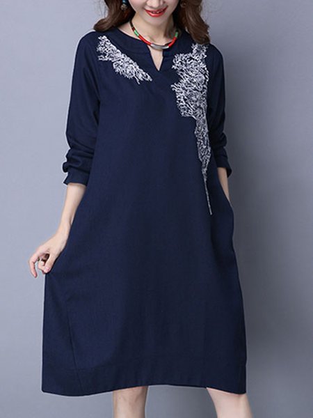 Embroidered Long Sleeve Cotton Vintage Dress