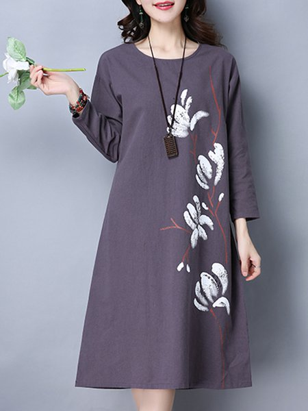 A-line Casual Long Sleeve Floral-print Cotton Dress