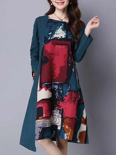 A-line Printed Casual Long Sleeve Dress