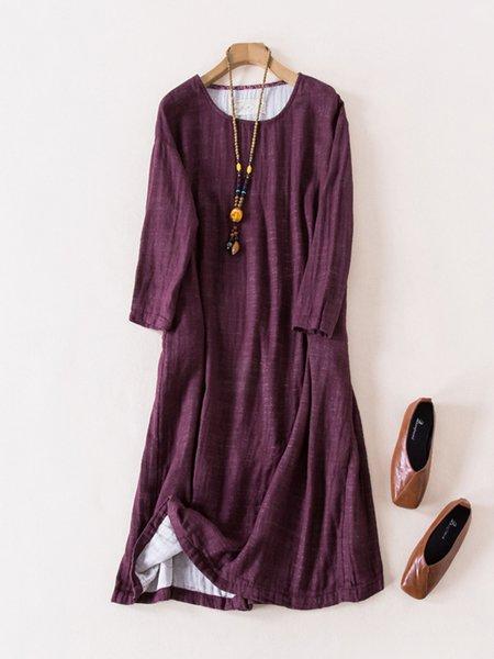 Burgundy Long Sleeve Linen Dress