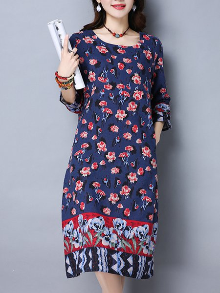Crew Neck Casual A-line Long Sleeve Dress