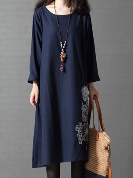 Navy Blue Linen Vintage Dress